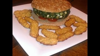 Spinach/feta Burger & Cauliflower Tater Tots - Meatless Bbq