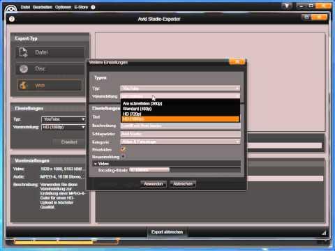 Web Upload in Avid studio und Pinnacle Studio