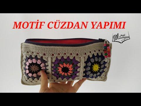 Altı motiften oluşan makyaj çantası* Altı motiften oluşan cüzdan