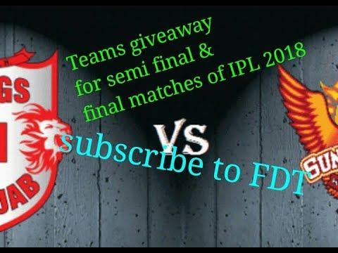 SRH vs KXl Punjab....25th match IPL 2018... probable 11 and dream11 team