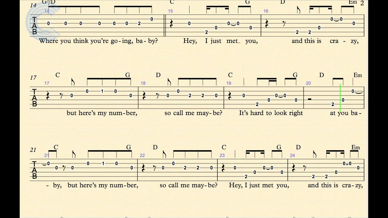 Guitar - Call Me Maybe - Carly Rae Jepsen - Sheet Music, Chords, and Vocals - YouTube
