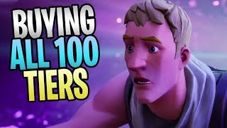 Fortnite Battle Royale-comprando todos os 100 Tiers Season 10 Battlepass skins, emotes e danças
