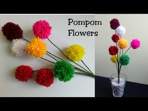 DIY Pom Pom flowers| How to make pompom flowers|Yarn Flowers|Home decoration ideas -Sapna Creations