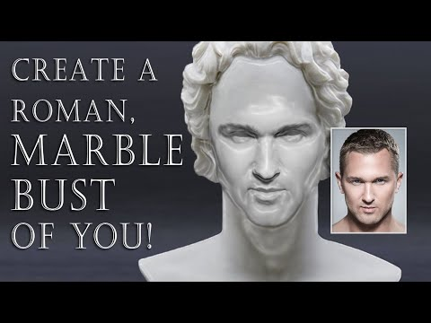 Photoshop: Create A Polished Marble, Ancient, Roman Bust Of Your Face.