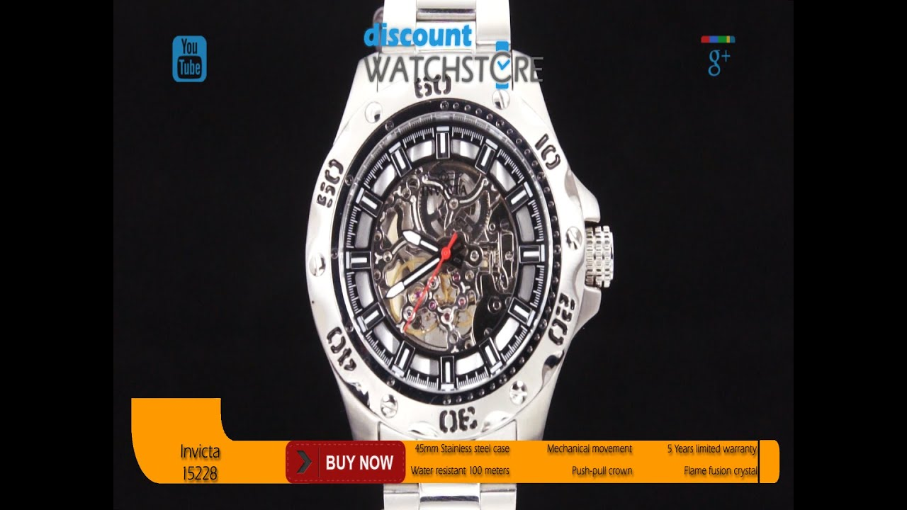 efff42187 Invicta 15228 Men's Specialty Python Mechanical Silver Skeleton Dial SS  Bracelet Watch Review Video