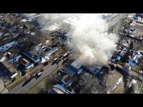 Commercial Building Flint MI on fire in FLINT TOWN