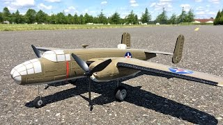 complete e flite umx b 25 mitchell bnf basic wwii bomber unboxing maiden flight and review