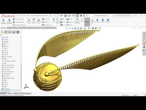 Solidworks tutorial | Design of Harry potter Golden Snitch in Solidworks