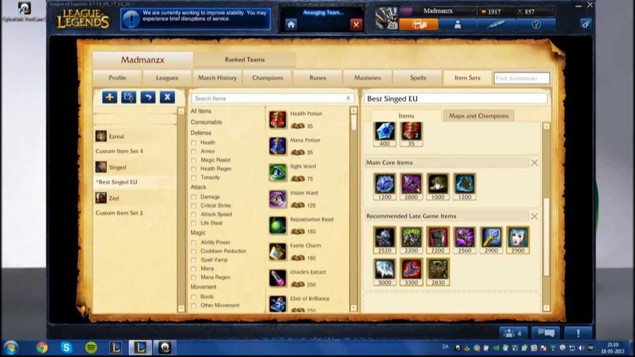 Aram Singed Build