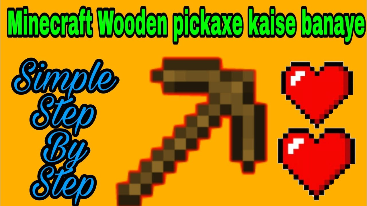 How to make Wooden Pickaxe In Minecraft Pocket Edition Mobile Hindi step by  step tutorial