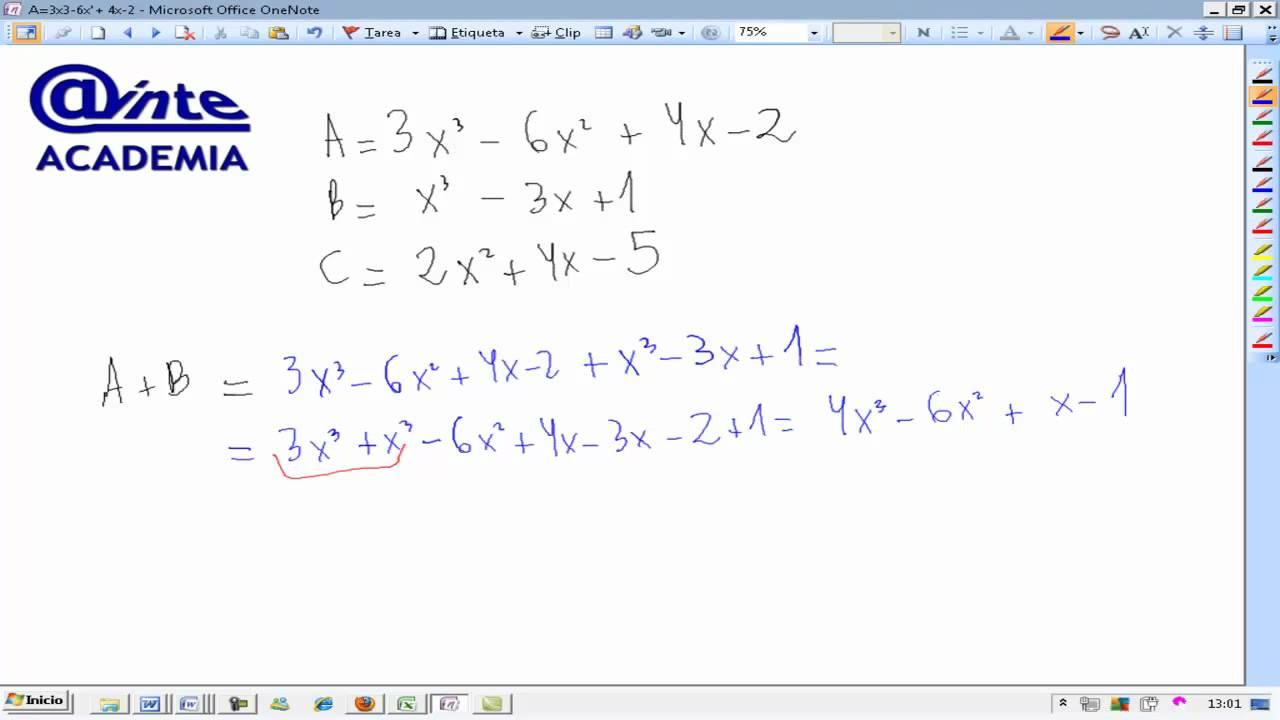 Operaciones con polinomios Suma y resta Matematicas 4 ESO A AINTE ...