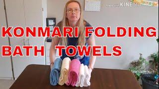How to fold bath towels & bath sheets   konmari method folding towels bathsheets   Marie Kondo fold