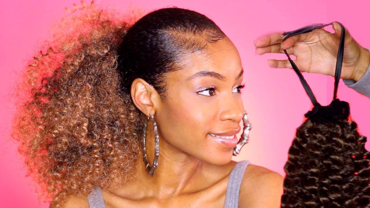 DIY $10 Drawstring Ponytail for Natural Hair - YouTube