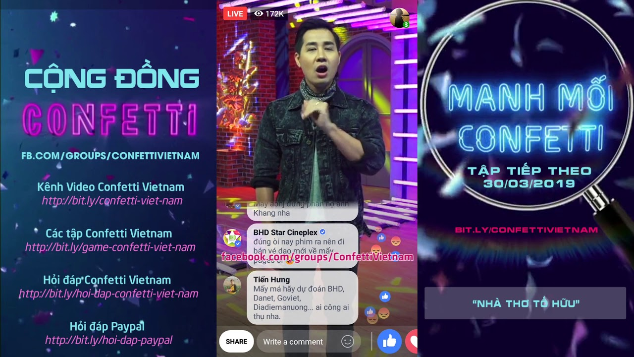 Tập 70] Confetti Vietnam - game đố vui trúng thưởng 3.000$ trên Facebook  Watch 29/03/2019 ✔️ - YouTube