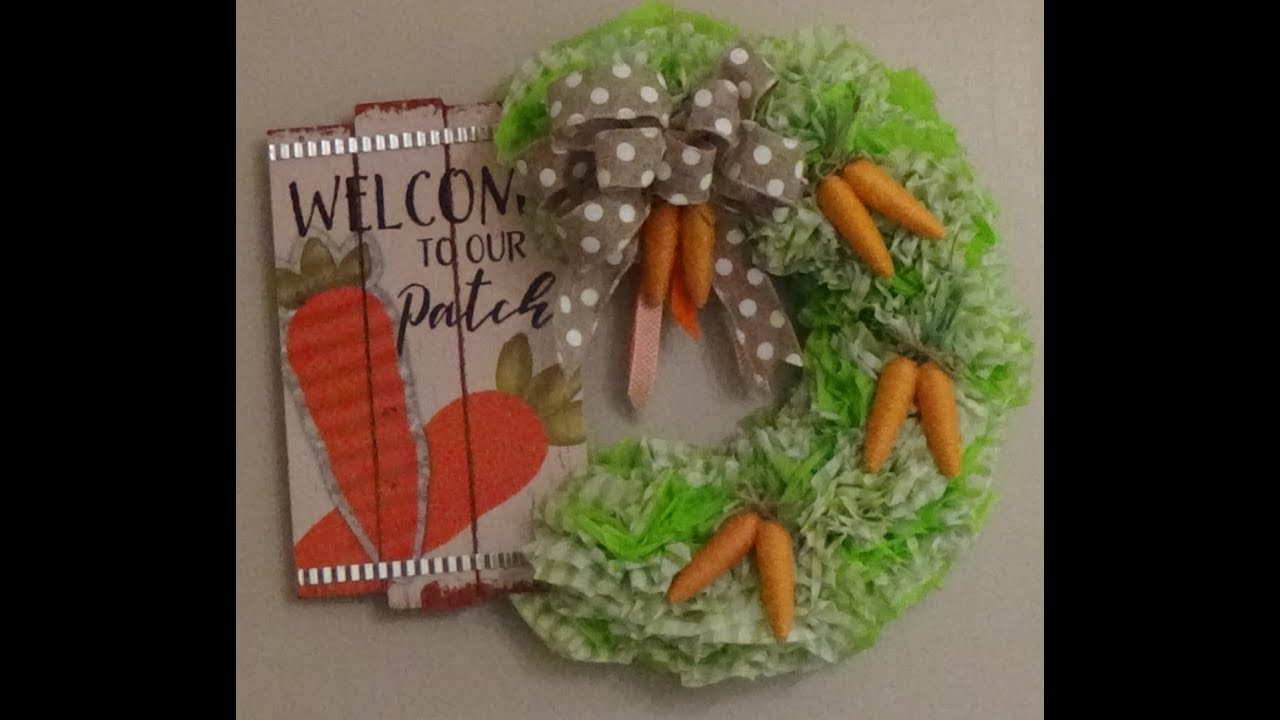 Dollar Tree Diy Carrot Patch Easter Spring Wreath Made With Wreath