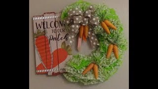 DOLLAR TREE DIY CARROT PATCH  EASTER / SPRING WREATH MADE WITH WREATH PLASTIC TABLE COVER