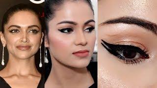 DOUBLE WINGED Liner Deepika Padukone GQ Inspired  NUDE Makeup In Hindi