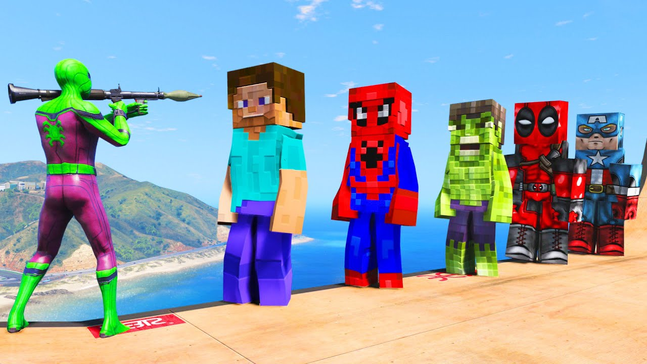GTA 5 Water Ragdolls SPIDERMAN VS MINECRAFT SUPERHEROES (Euphoria Physics)