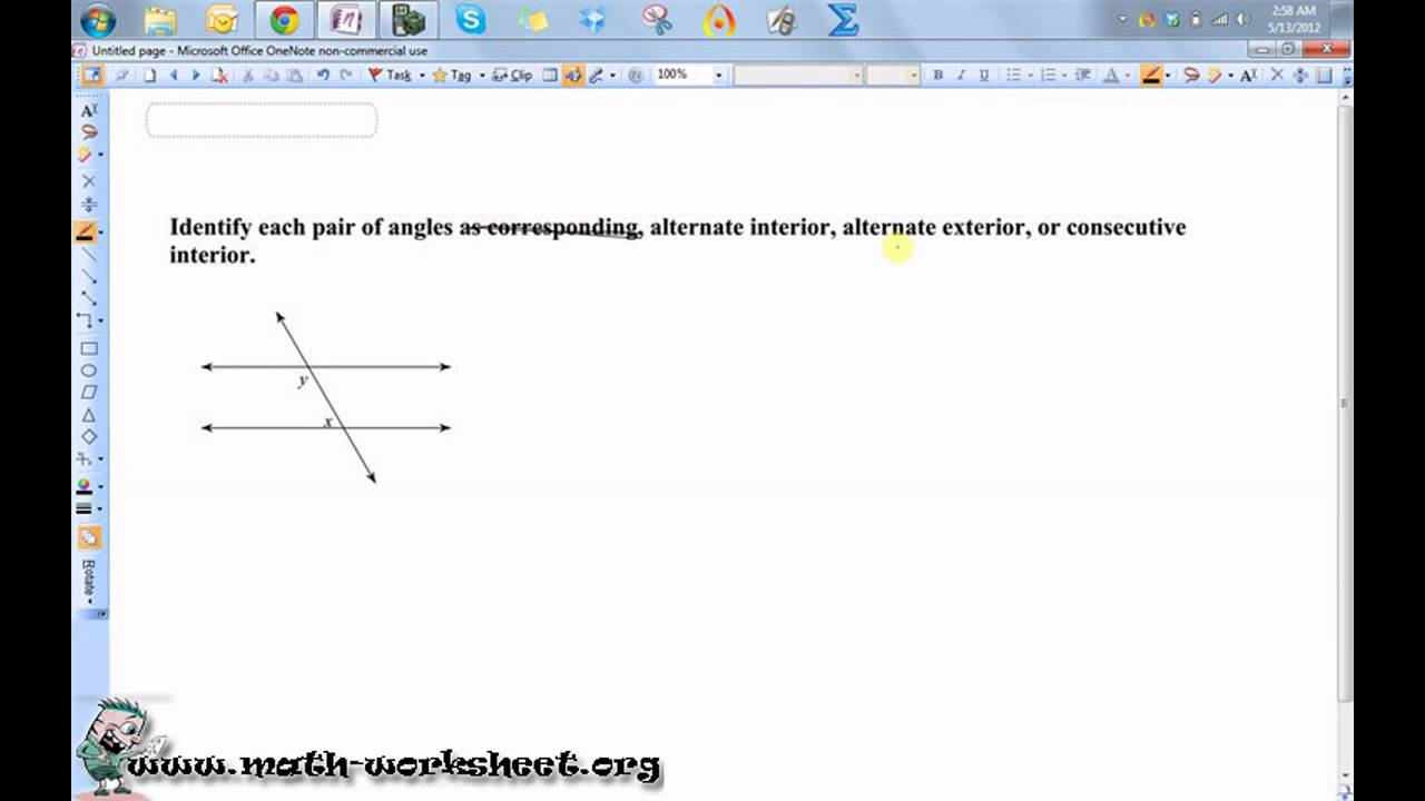 Parallel lines and transversals Worksheets – Parallel Lines Cut by a Transversal Worksheet