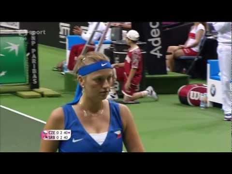 Petra Kvitová vs Jelena Jankovic Fed Cup 2012, Česko - Srbsko