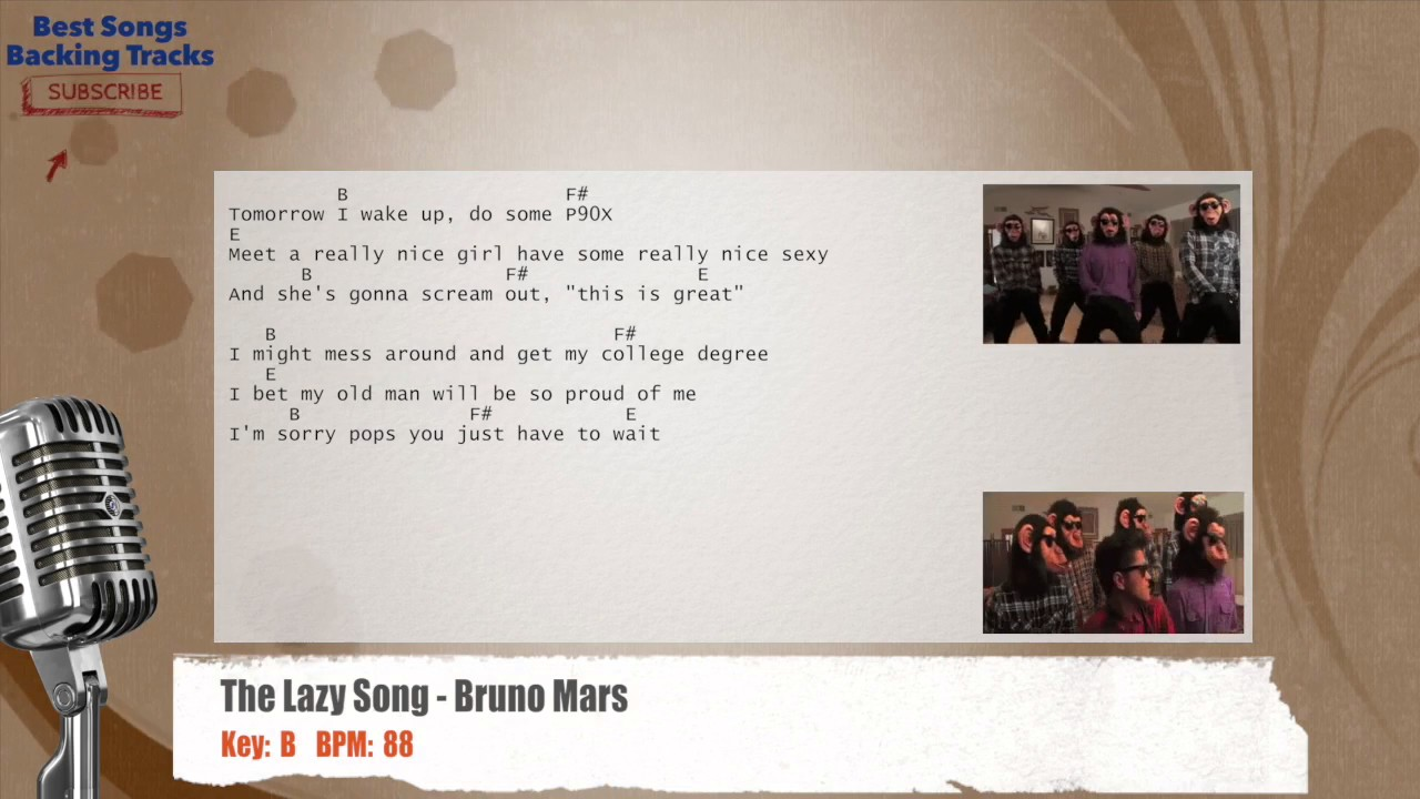 The Lazy Song Bruno Mars Vocal Backing Track With Chords And