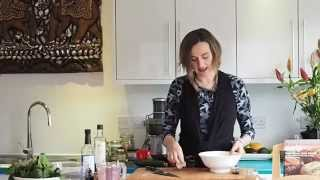 Saskia's Raw Food Recipes:  Wilted Greens With Marinated Mushrooms