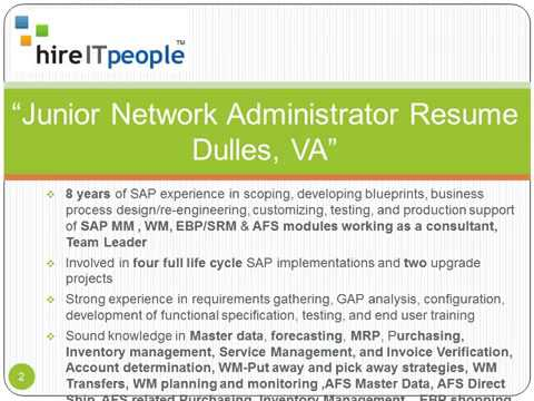 junior network administrator resume dulles va - Network Administrators Resume