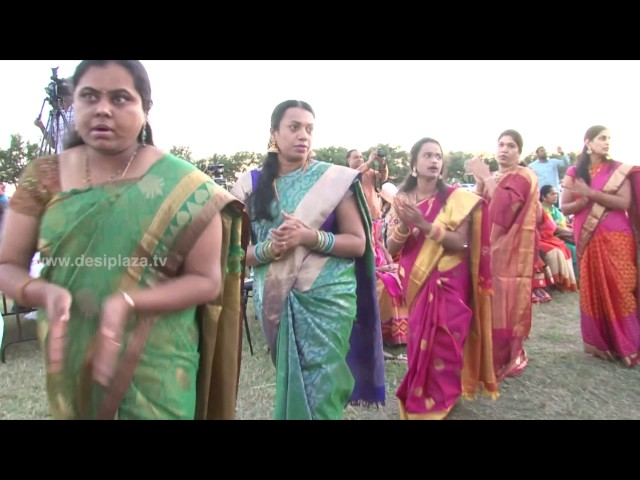Playing Bathukamma at DATA Bathukamma & Dasara Panduga Celebrations 2016