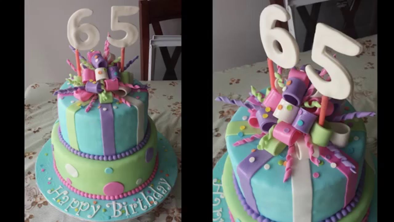 Sweet 65th Birthday Cake With Stripes And Bows