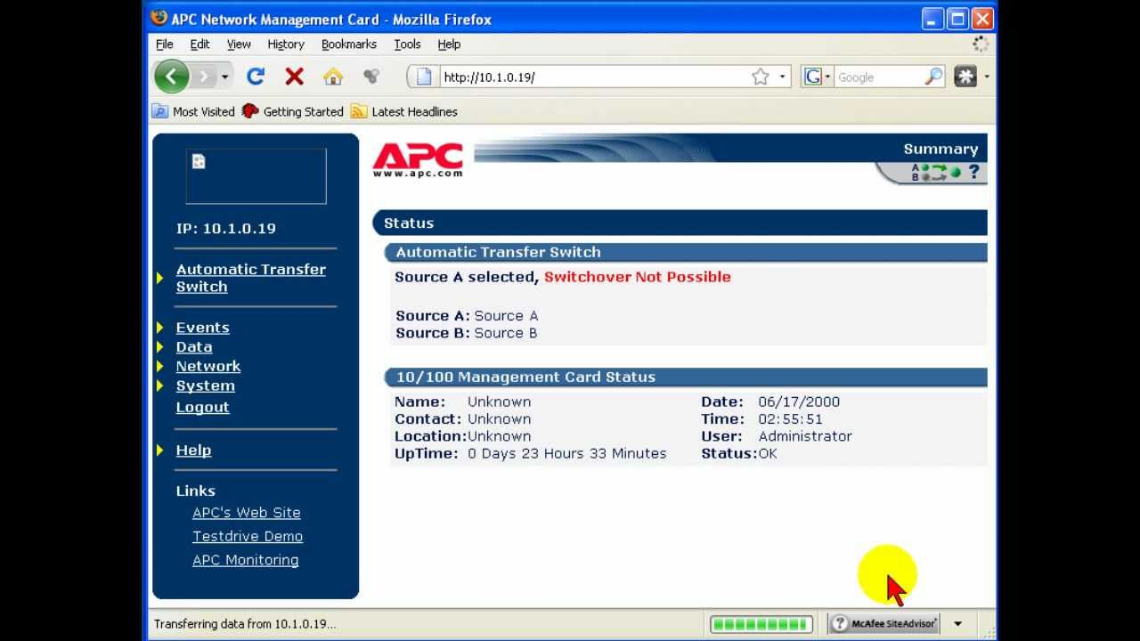 How to Set IP Address AP9617 APC Network Management Card