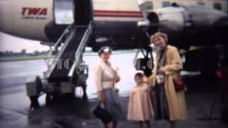 1949: Trans World Airlines propeller turbojet airplane boarding. ST AUGUSTINE, FLORIDA