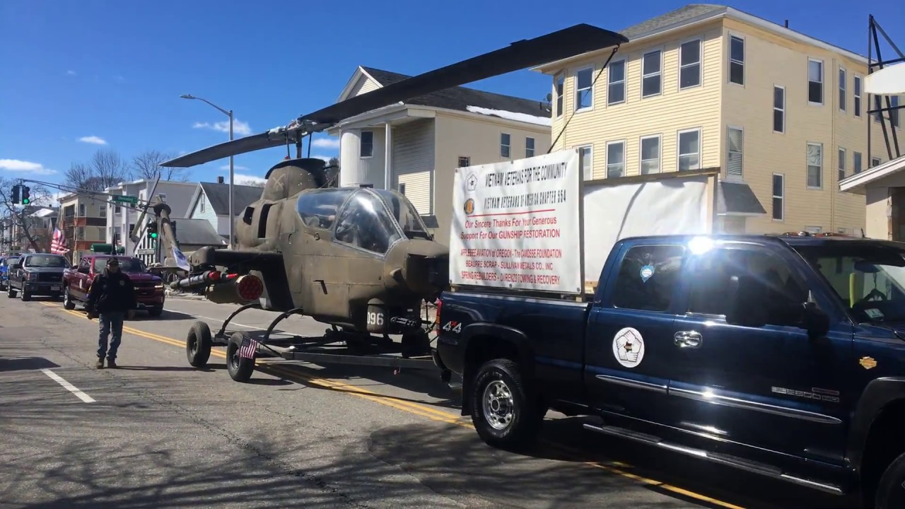 Worcester St  Pats Parade: Worcester Vietnam vets with National Guard copter