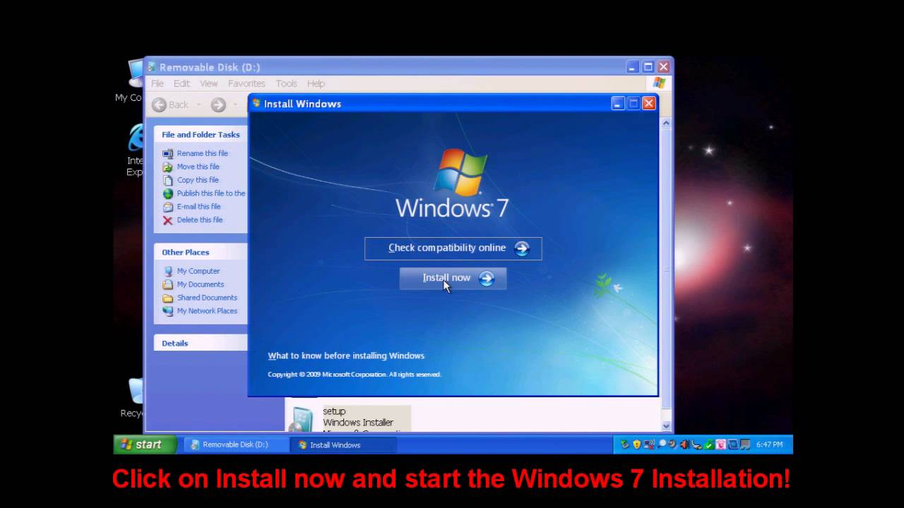 installation of windows 7 on a dell mini 10v with a usb