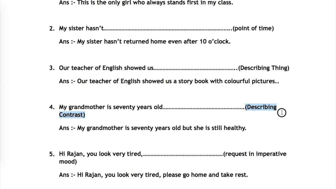 #9 New Course 18 [Q 16 to 18] English Grammar Revision COMPLETE THE  SENTENCES for 10th Board Exam