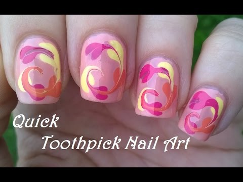 Easy Toothpick Nail Art For Beginners Colorful Nails Idea Youtube