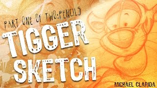 How to draw Tigger sketch warm up drawing