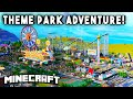 THEME PARK ADVENTURE Ep3 Fireworks, Rollercoasters, more Minecraft Maps