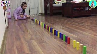 Thử thách xếp hiệu ứng Domino - Trò chơi xếp hình Domino - Kids Play with Colored Jenga Toy Blocks