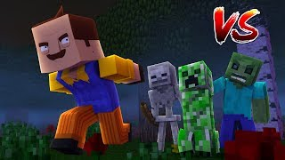 CAN THE HELLO NEIGHBOR DEFEAT MINECRAFT MOBS - Creeper, Zombie & Skeleton - Modded mini game