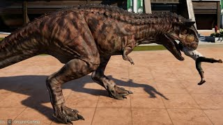Jurassic World Evolution - Carnotaurus & Ceratosaurus Breakout & Fight! (1080p 60FPS)