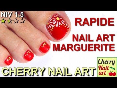 NAIL ART marguerite rapide sur les pieds - YouTube