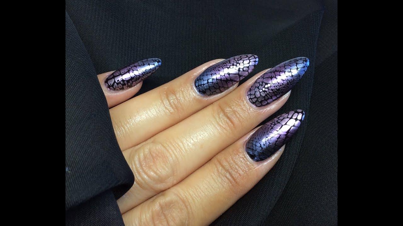 Chrome gradient snakeskin crocodile skin nail art stamping chrome gradient snakeskin crocodile skin nail art stamping tutorial models own metallic polish solutioingenieria Image collections
