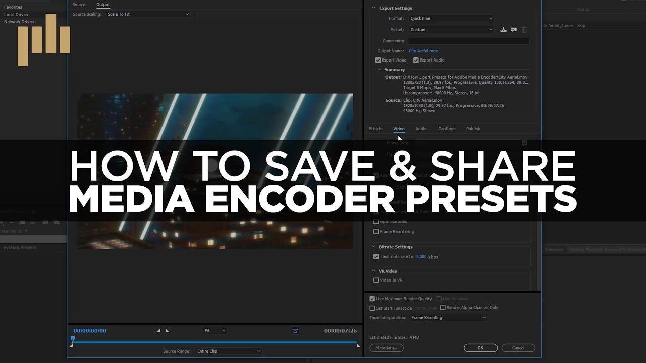 how to add preset in media encoder mac