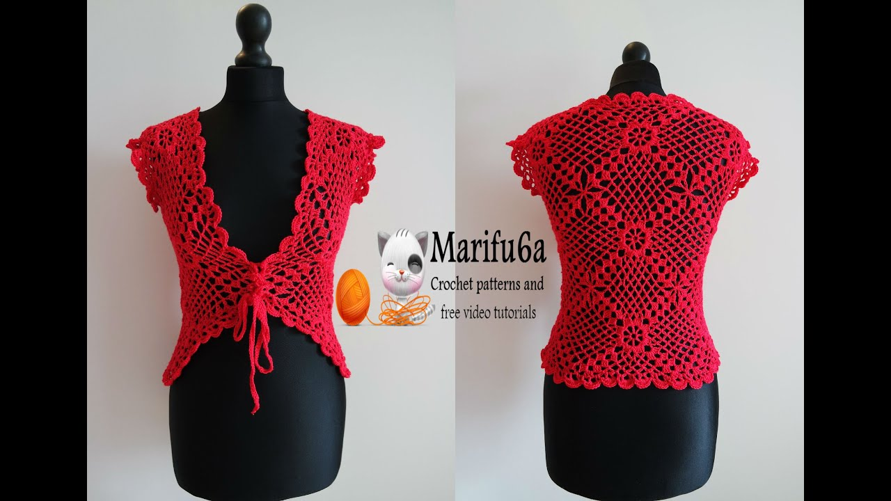 Free Crochet Pattern Bolero Jacket : How to crochet red jacket bolero free tutorial pattern all ...