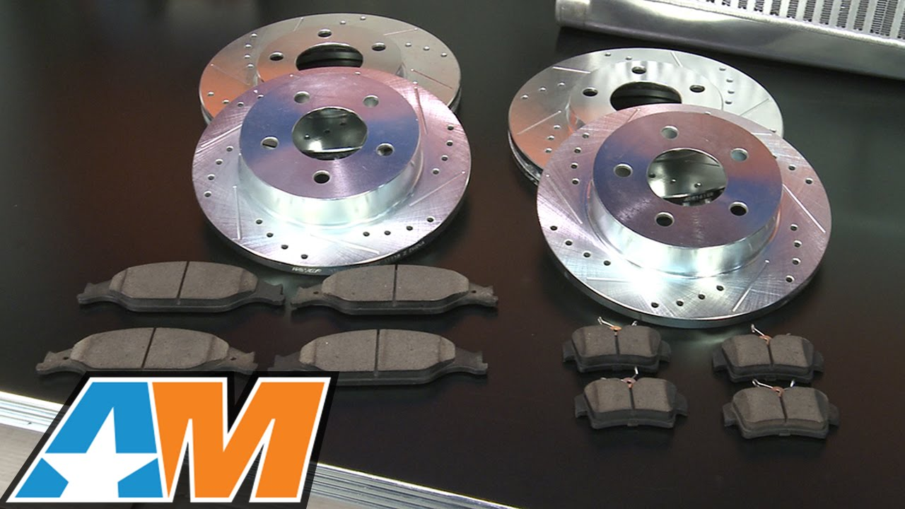 81034 Power Sport Plain Replacement Brake Rotors and Ceramic Brake Pads Kit FRONTS