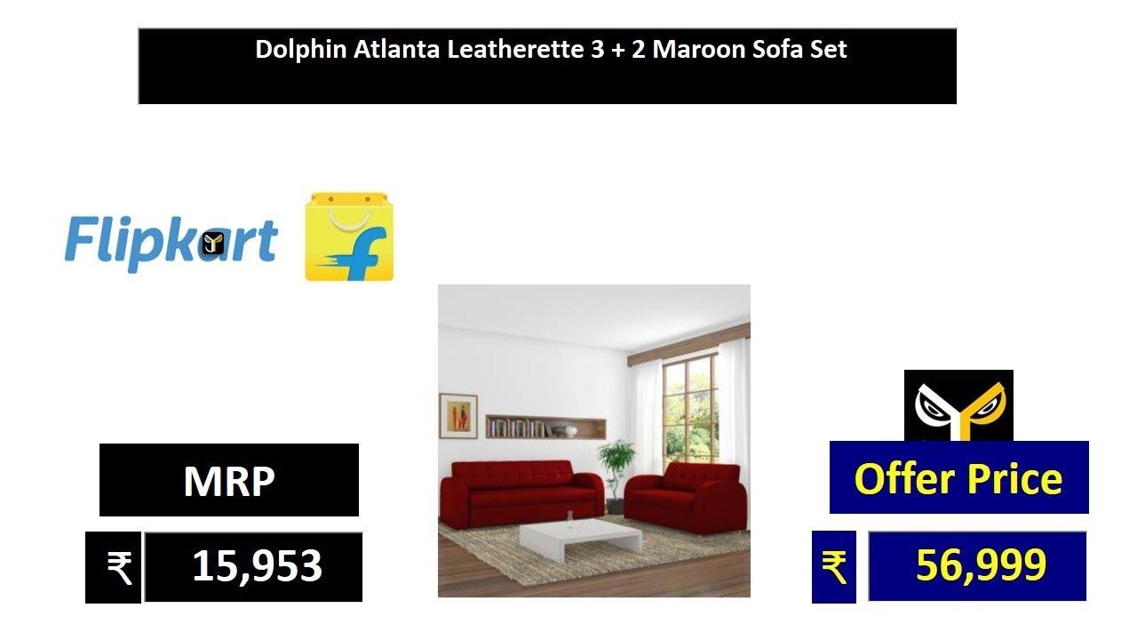 Leatherette 3 2 Maroon Sofa Set