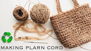 Spinning HDPE Grocery Bags into Cord by Hand | Plarn Twine Twisting Yarn Upcycled Recycled by GemFOX