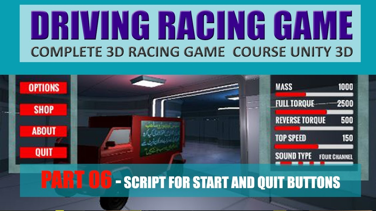 How To Create Start And Quit Buttons | Building Advance Driving Racing Game In Unity & C# #6