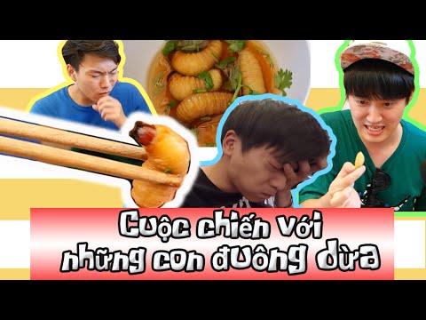 Những chàng trai Hàn Quốc và bữa ăn Đuông dừa ! 한국오빠들 등유(살아있는 코코넛벌레)먹방!