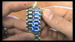 Modré LED hodinky Iron Samurai stříbrné.AVI